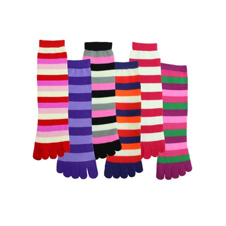 Striped Toe Socks (Bright Multicolor Striped Knit 6-Pack Womens Toe Socks )