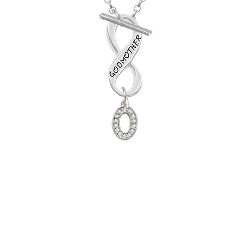 Small Crystal Initial - O - Godmother Infinity Toggle Chain Necklace