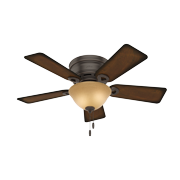 """Hunter 42"""" Conroy Snow White Ceiling Fan with Light Kit and Pull Chain"""