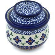 Polish Pottery 4½-inch Butter Dish (Gangham Flower Chain Theme) Hand Painted in Boleslawiec, Poland + Certificate of Authenticity