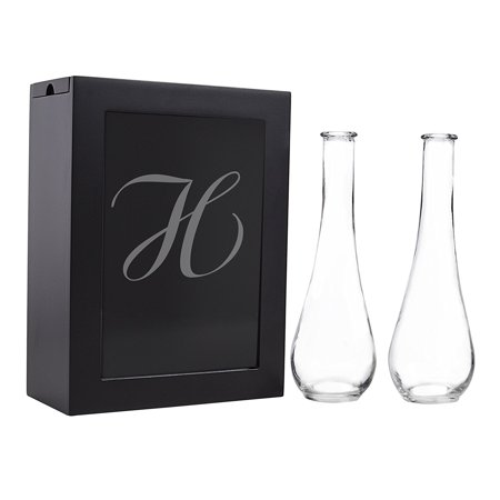 Sand Ceremony Shadow Box Set, Letter H, Black, Set Includes Large shadow box, Custom engraved glass insert, Two pouring vases By Cathy's Concepts It comes to you in New and Fresh state A top trending alternative for the traditional unity candle, the Unity Sand Ceremony Shadow Box Set comes complete with two pouring vases, an easy to open shadow box and personalized glass insert. Sand not included. What you see is what you will get