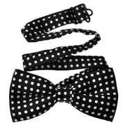 TopTie Unisex Fashion Black With White Polka Dots Bow tie