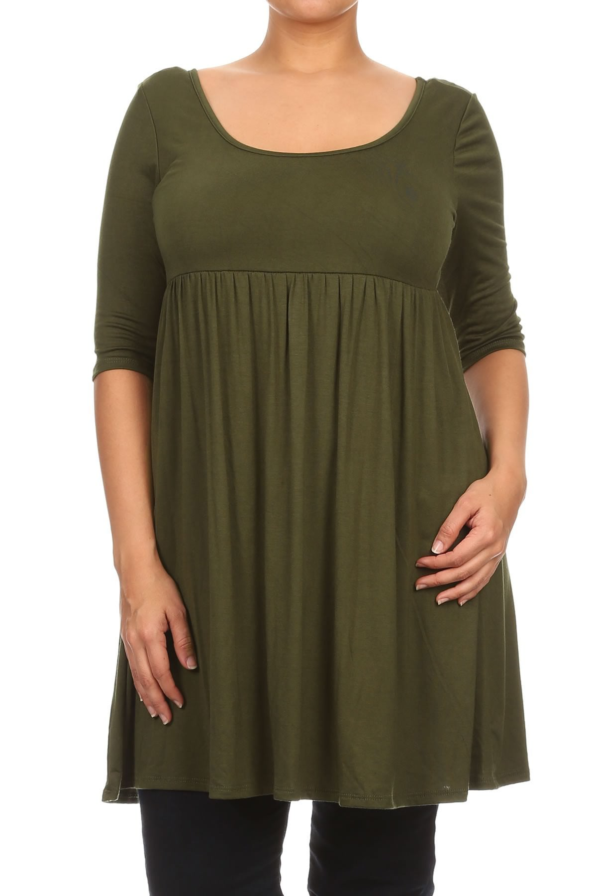 Women Plus Size Half Sleeve Solid Babydoll Casual Tunic Top Dress Olive XL (D240 SD)