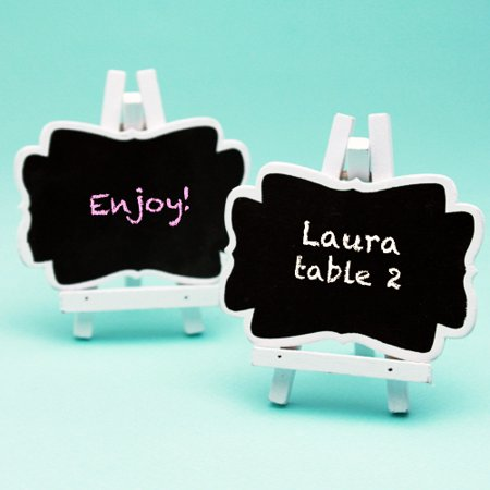 PACK OF 10 PIECES MINI WHITE BLACKBOARD VINTAGE CHALKBOARD STAND