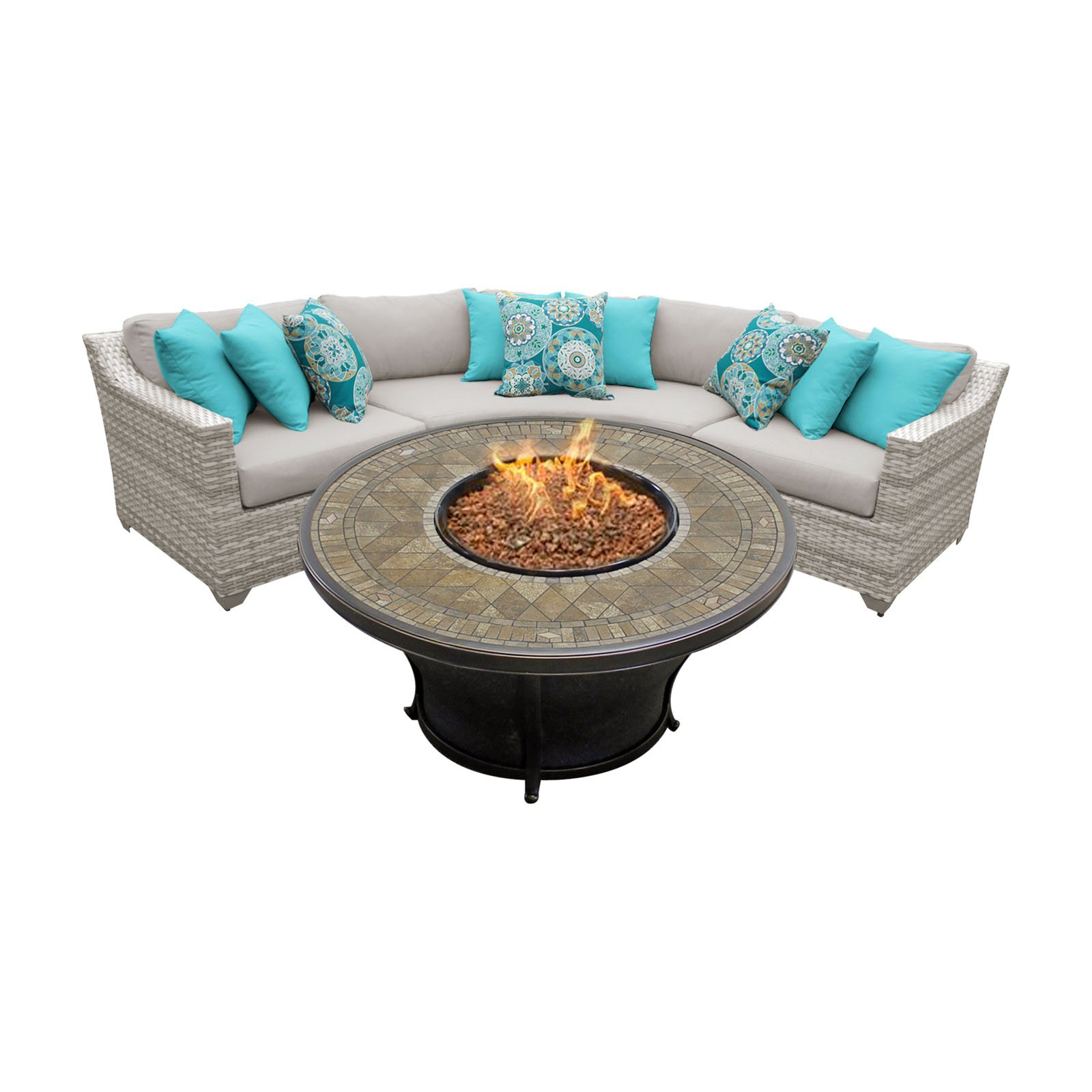TK Classics Fairmont 04E Wicker 4 Piece Fire Pit Patio Set