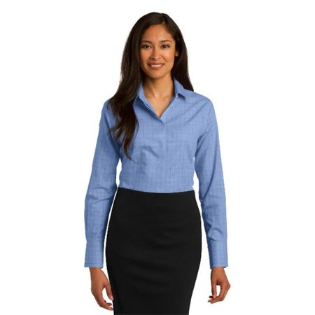 Red House® Ladies Windowpane Plaid Non-Iron Shirt. Rh71 Blue S - image 1 de 1