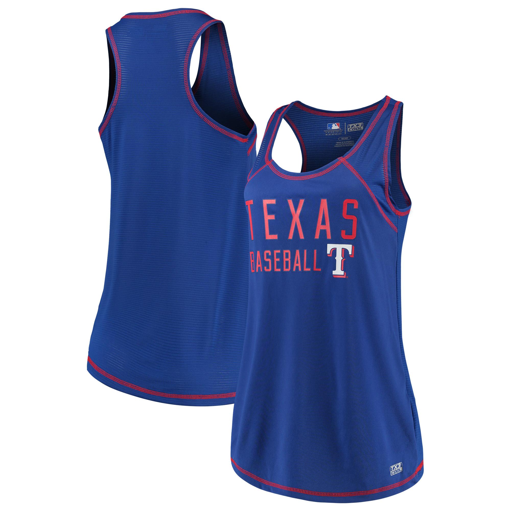 Women's Majestic Royal Texas Rangers TX3 Cool Fabric Scoop Neck Tank Top