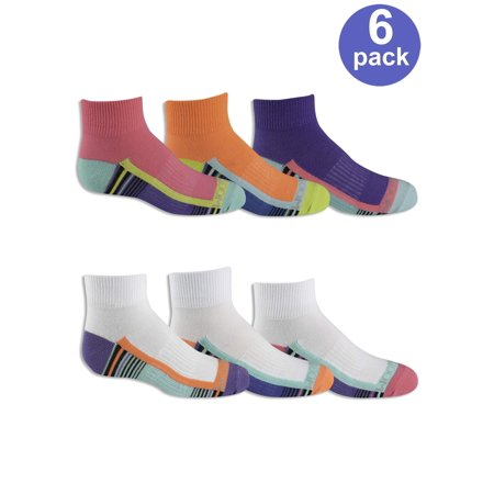 Fruit of the Loom Girls' Everyday Active Lightweight Flat Knit Ankle Socks with Arch Support, 6 Pairs