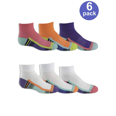 Fruit of the Loom Girls' Everyday Active Lightweight Flat Knit Ankle Socks with Arch Support, 6