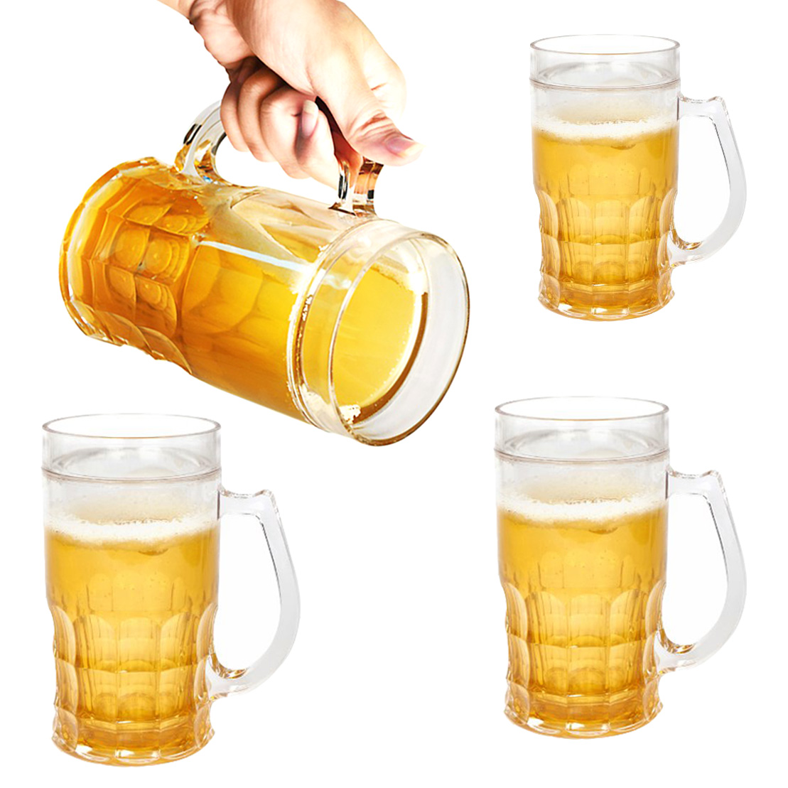 Set Of 4 Evri 13oz Plastic Insulated Funny Chill'R Beer Mugs Glasses For Freezer Novelty Silly
