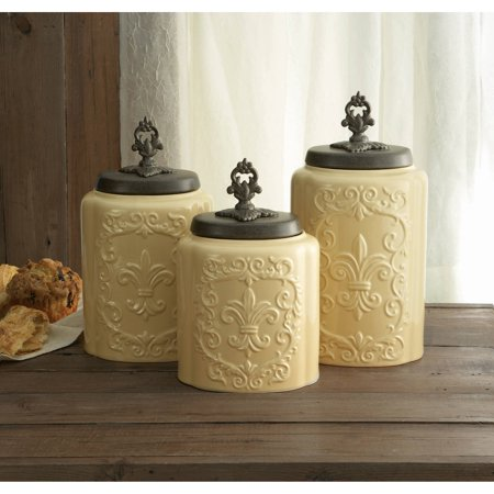 Cream antique set of 3 canisters 11 8 h 10 4 h 9 3 for Cream kitchen set