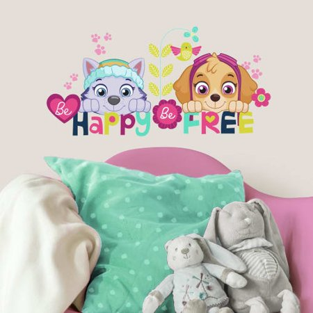 Best Paw Patrol Skye And Everest Be Happy Quote Peel And Stick Wall Decals deal