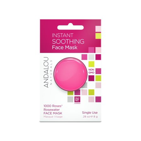 (2 Pack) Andalou Naturals Instant Soothing Face Mask, 1000 Roses Rosewater, 0.28 Oz - Instant Soothing Moisture Mask