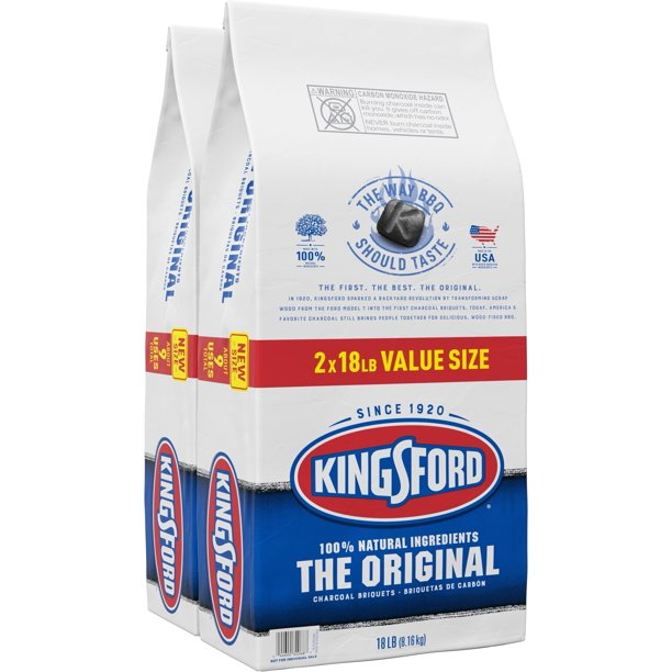 Kingsford Original Charcoal Briquets - 18 Pounds Each (Pack of 2)