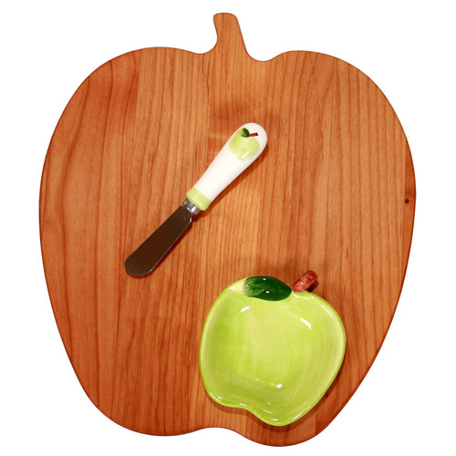 Out of the Woods of Oregon Apple Board with Apple Bowl & Spreader