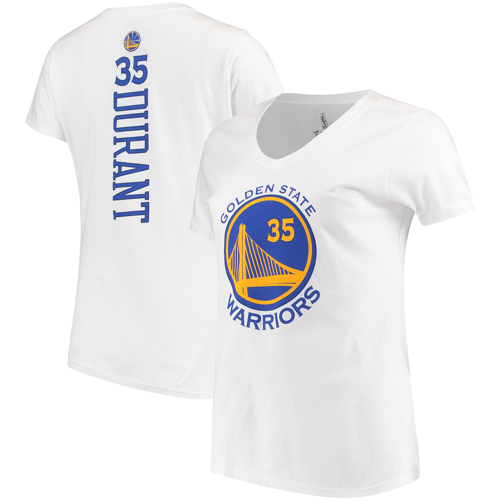 Kevin Durant Golden State Warriors Fanatics Branded Women's Backer Classic Fit Name & Number V-Neck T-Shirt - White