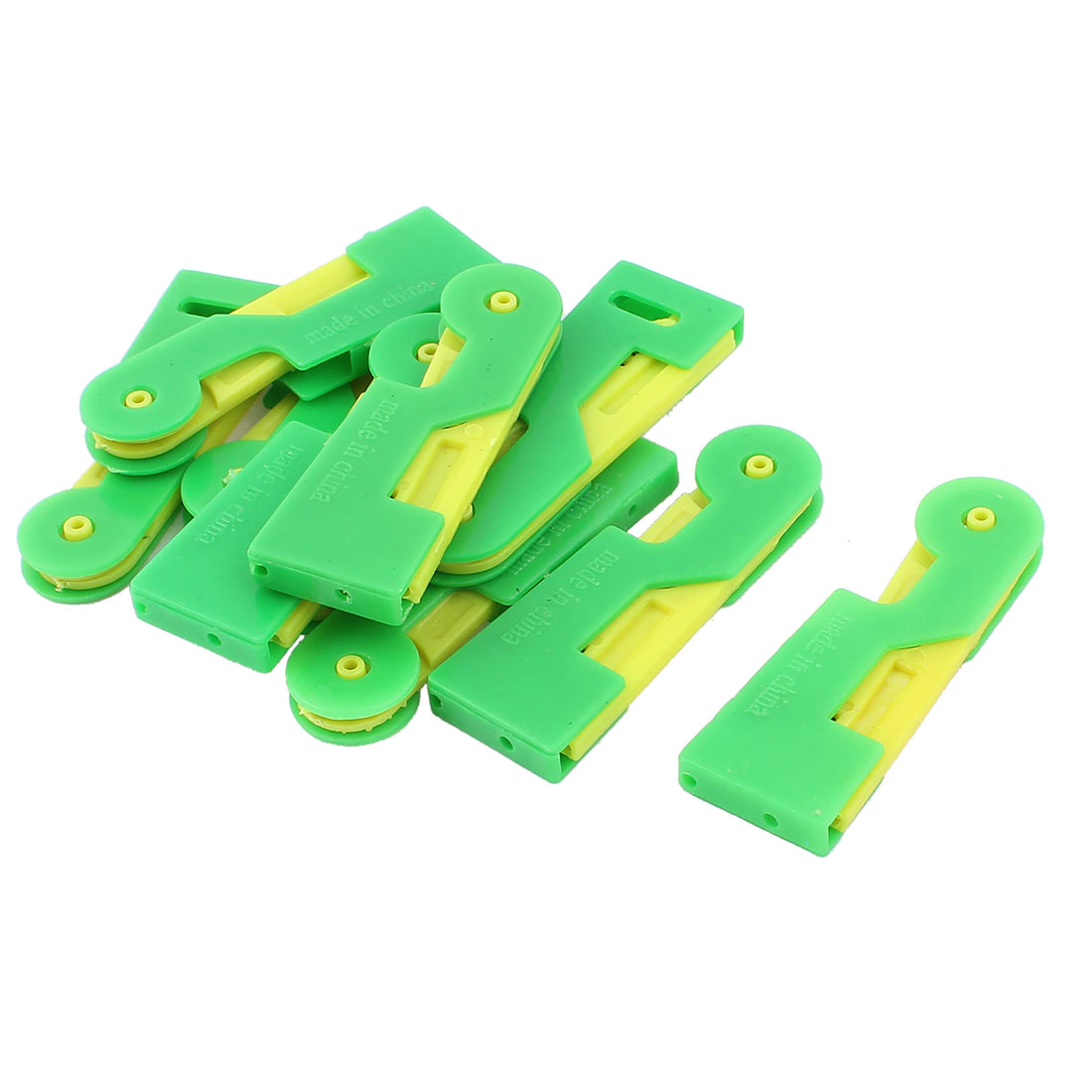 Unique Bargains 10pcs Green Yellow Elder Stitch Sew Hem Automatic Needle Threader Thread Guide