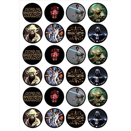 Star Wars Cupcakes (24 EDIBLE IMAGE-24 STAR WARS CUPCAKE TOPPERS )