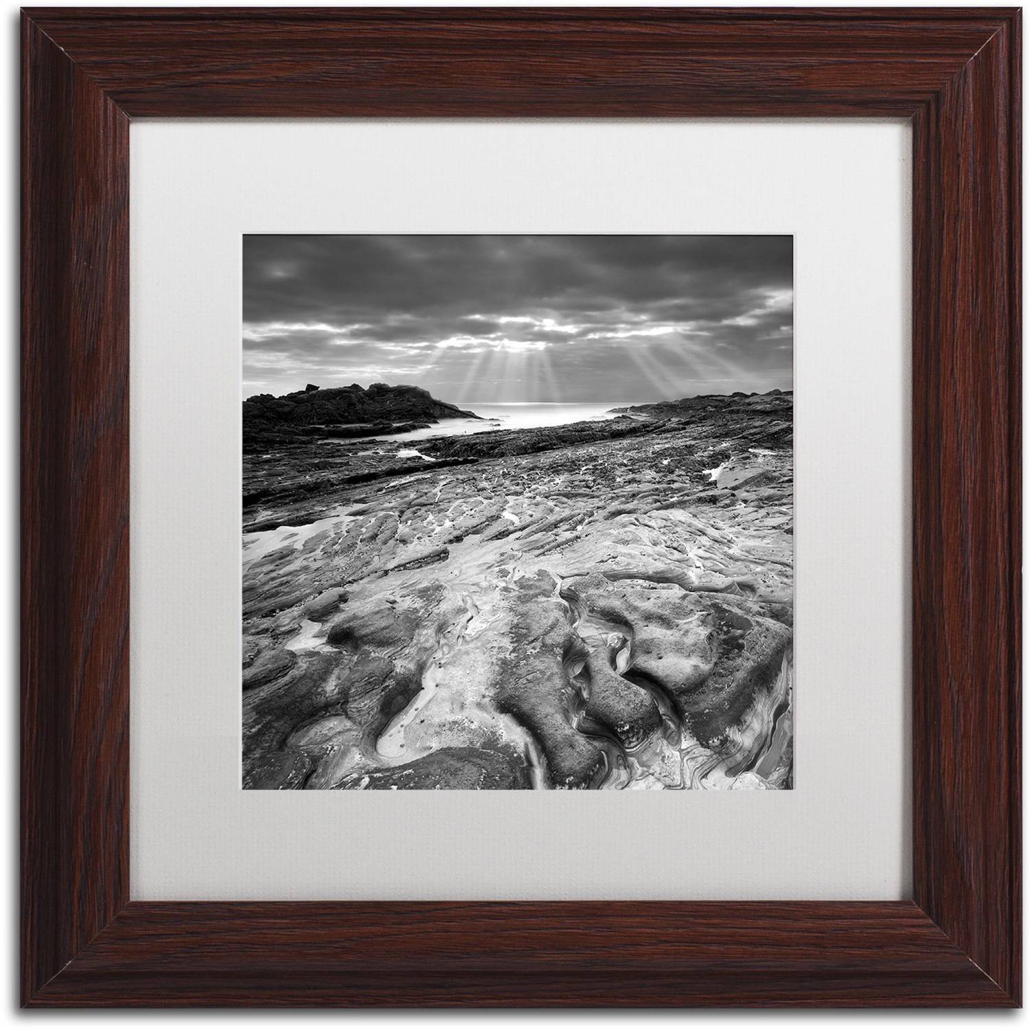 "Trademark Fine Art ""Sunset at Point Lobos"" Canvas Art by Moises Levy White Matte, Wood Frame"
