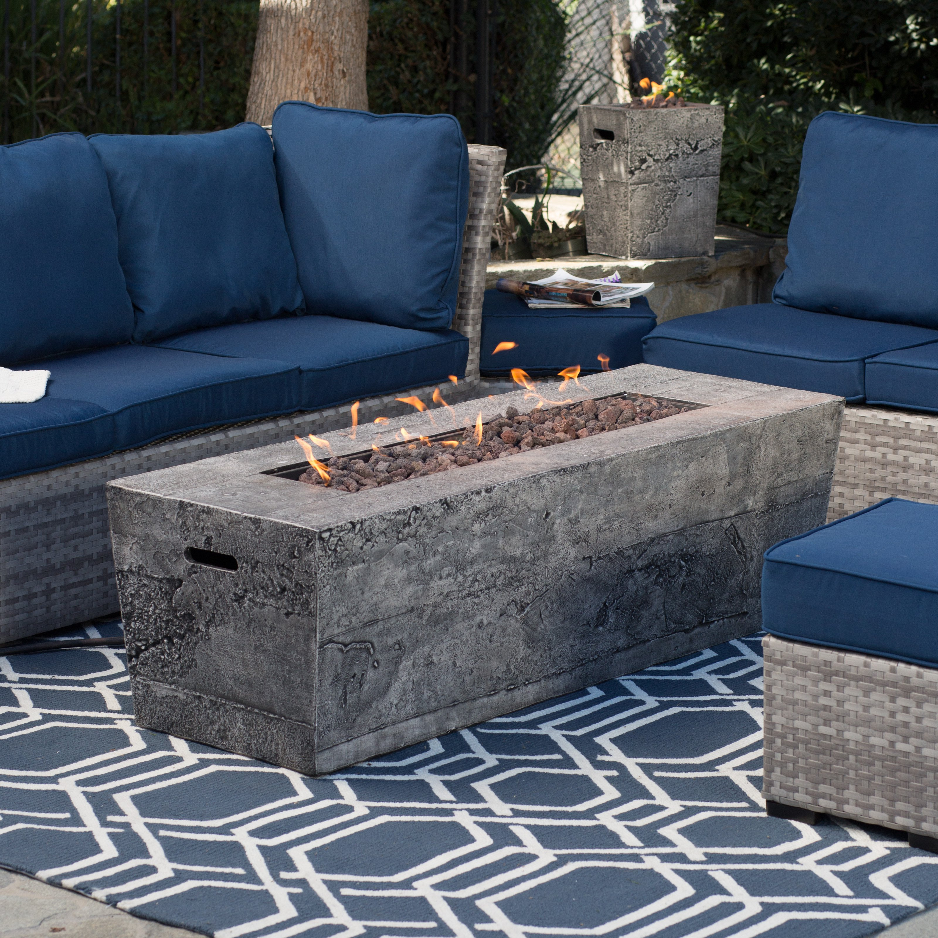 Red Ember Glacier Stone 60 In. Gas Fire Pit Table With FREE Cover    Walmart.com