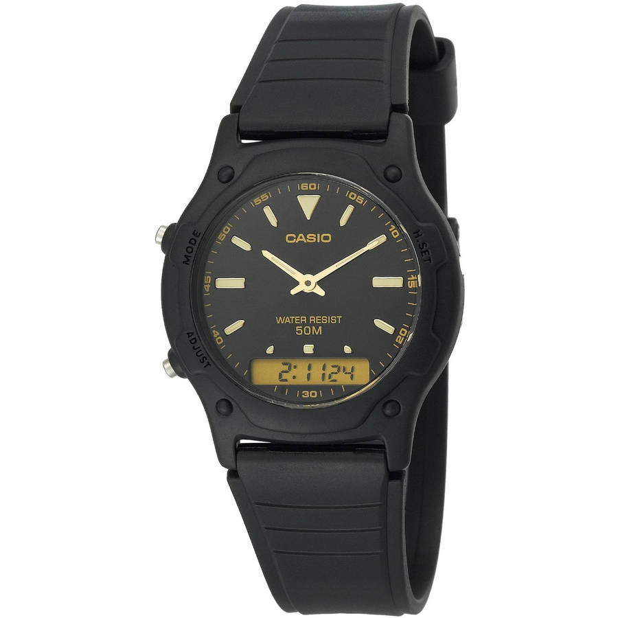 Casio Men's Black Dial Ana-Digi Watch, Black Resin Strap