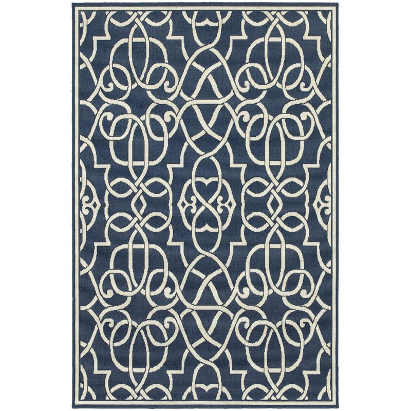 "Oriental Weavers Meridian 7'10"" x 10'10"" Machine Woven Rug in Navy"