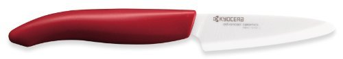 3-inch Paring Knife with Red Handle, White Blade by Kyocera