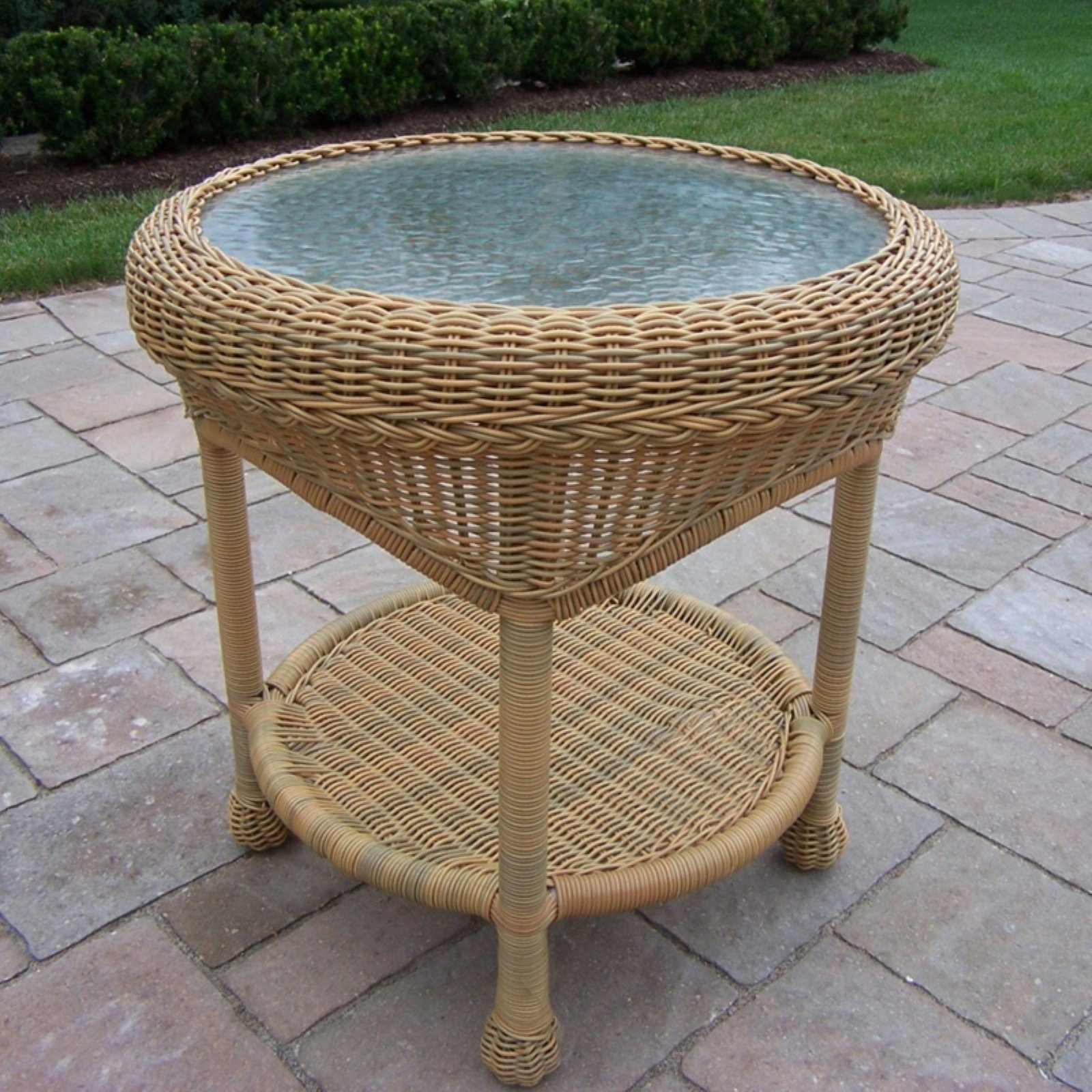 Oakland Living All Weather Wicker End Table