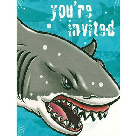 Summer Shark Invitations and Thank You Notes w/ Envelopes (8ct - Shark Party Invitations