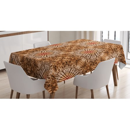 Tie Dye Decor Tablecloth, Marine Shell Objects Tie Dye Fashion Motif with Spiral Smeared Wavy Tones , Rectangular Table Cover for Dining Room Kitchen, 60 X 84 Inches, Brown Orange, by Ambesonne - Tie Dye Tablecloth