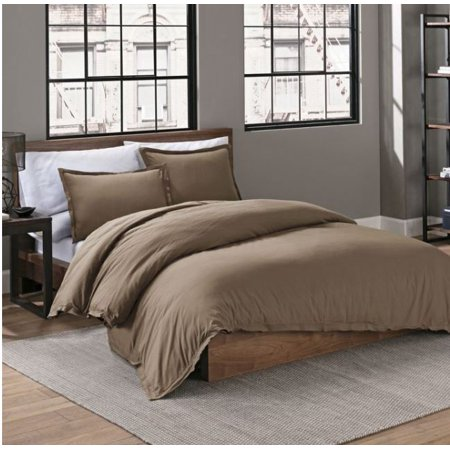 Garment Washed Solid King 3 Piece Duvet Cover Set in Mushroom (Mushroom 3 Piece Set)