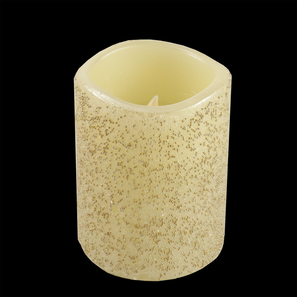 "4"" Silver and Gold Beaded Ivory Battery Operated Flameless LED Wax Christmas Pillar Candle"