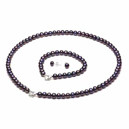 "10-11mm Black Freshwater Pearl Heart-Shape Sterling Silver Necklace (18""), Bracelet (7"") Set with Bonus Pearl Stud Earrings"