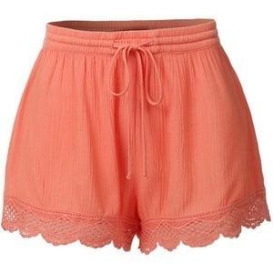Women's Breathable Shorts Casual Shorts Lace Hem Candy Color Short Pants