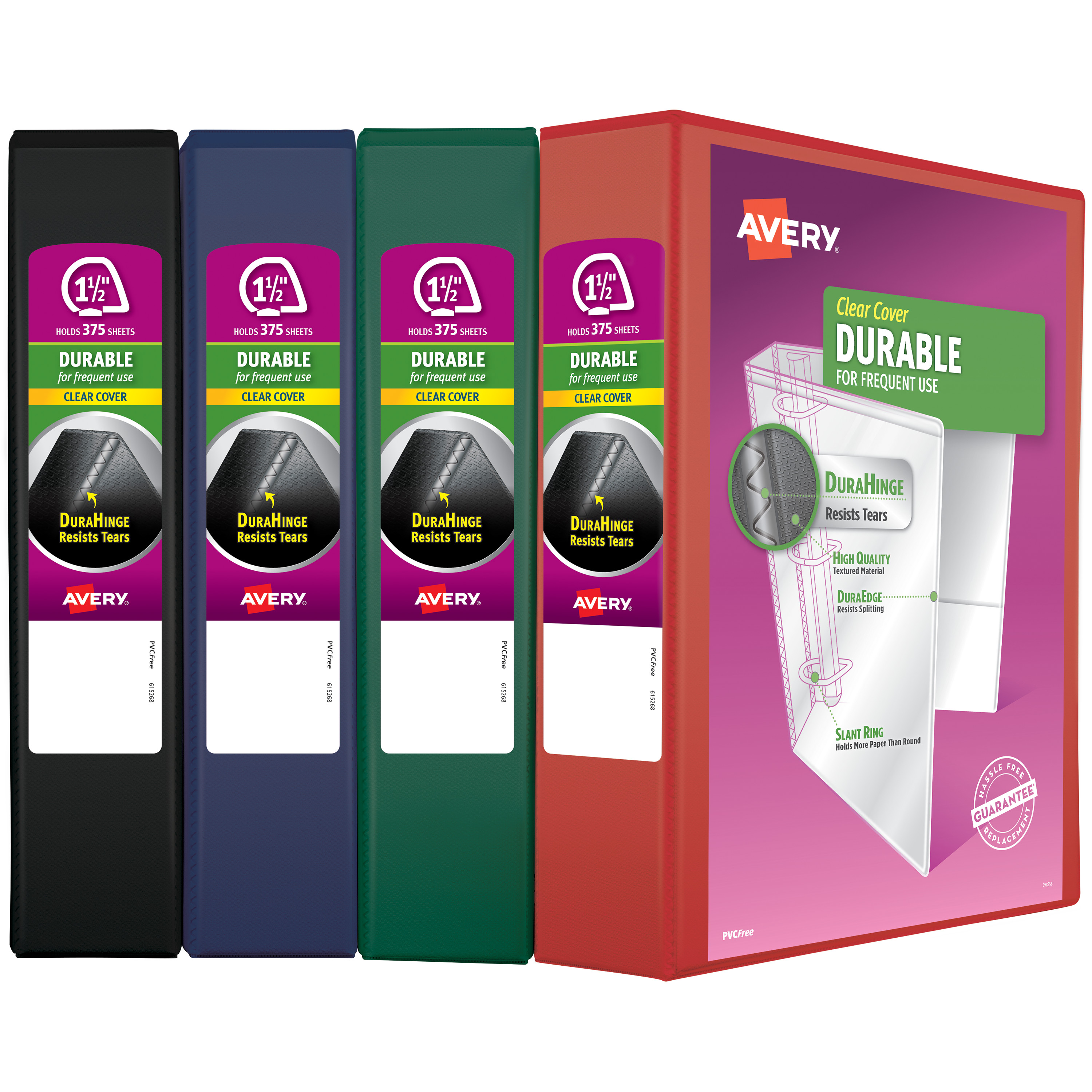 "Avery 1.5"" Durable View Binder, Slant Ring, Assorted"