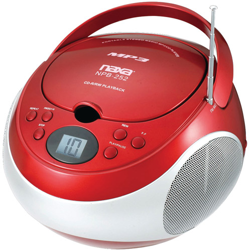 Naxa Portable CD/MP3 Player with AM/FM Stereo, Red, NPB252