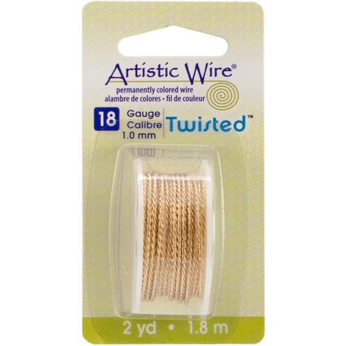 Beadalon Artistic Wire Twisted Round, Non-Tarnish Brass