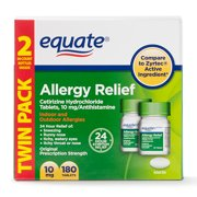 Equate Cetirizine HCl Tablets 10mg, 90 Count, 2 Pack