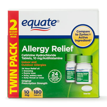 Sinus Tablet Vitamins - Equate Allergy Relief Cetirizine Antihistamine Tablets, 10 mg, 90 Ct, 2 Pk