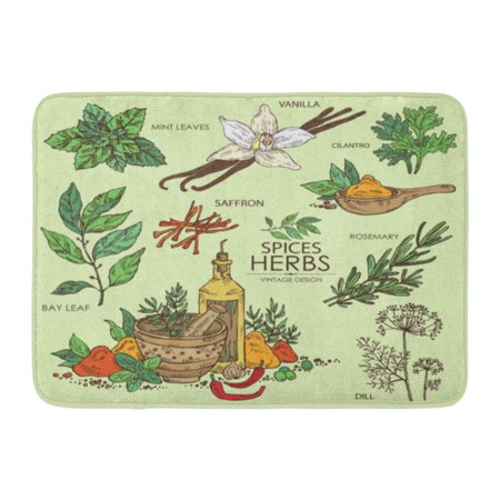 GODPOK Vintage Collection of Herbs and Spice Vanilla Mint Bay Leaf Cilantro Dill Saffron Rosemary Beauty Rug Doormat Bath Mat 23.6x15.7 inch (Vintage Herbs Rosemary)