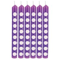 """Club Pack of 72 True Purple Polka Dot Birthday Party Candles 2.25"""""""
