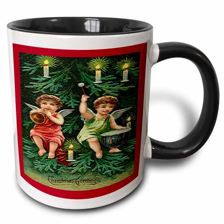 3dRose Children Angels in Candle Lit Tree Playing a Horn and Drum Image - Two Tone Black Mug, 11-ounce