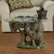 Design Toscano Elephant's Majesty Glass-Topped Cocktail Table