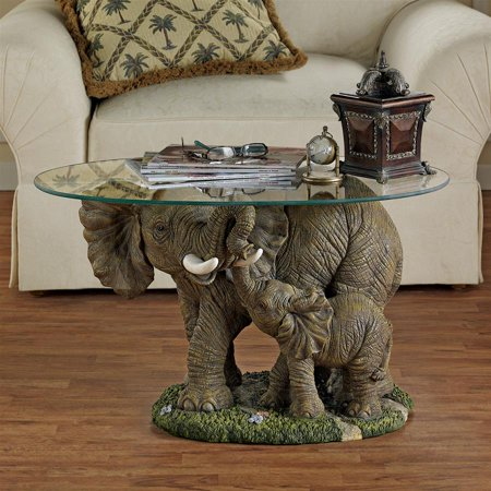 fbcf8b426 Elephant s Majesty Glass-Topped Cocktail Table - Walmart.com