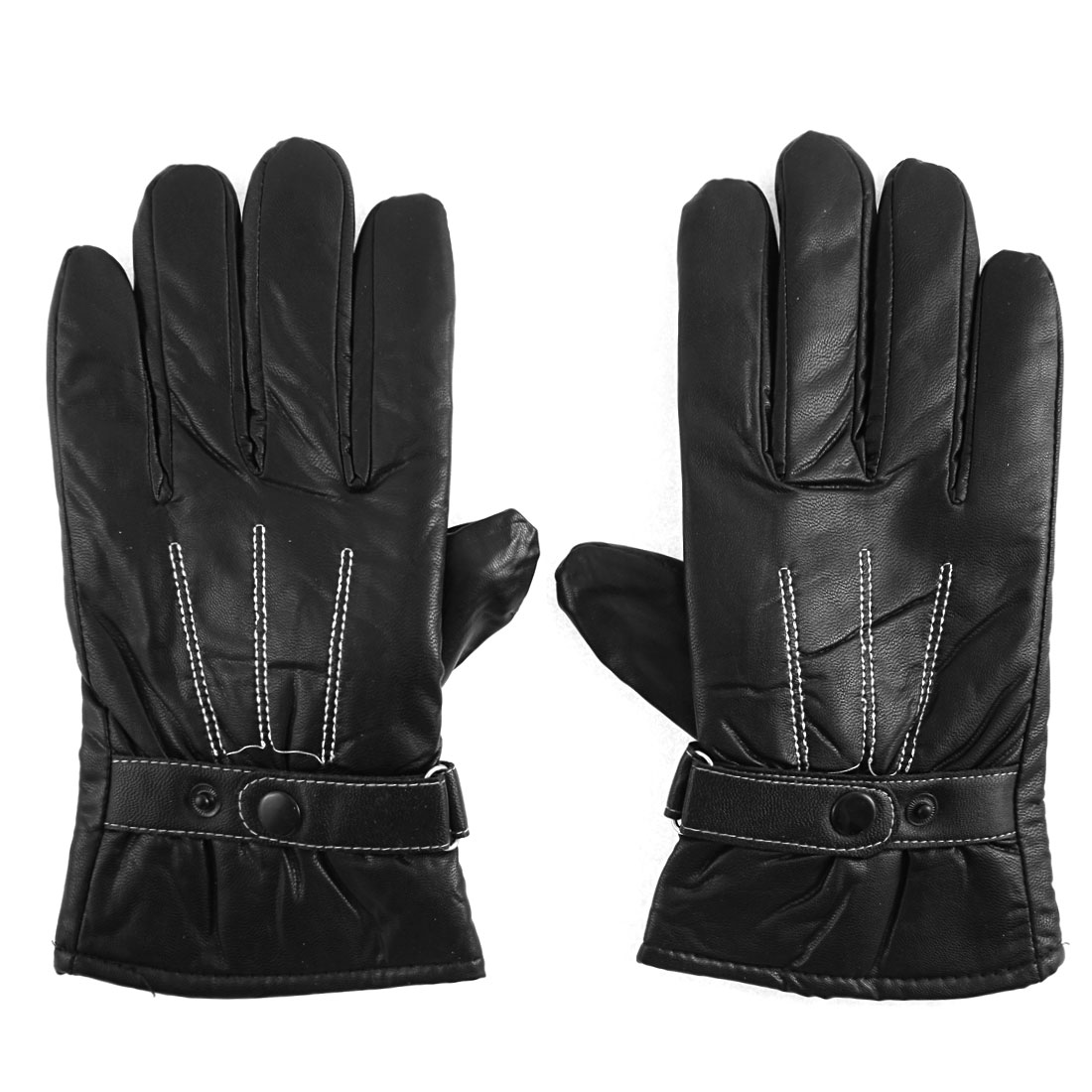 Unique Bargains Unisex Winter Leather Motorcycle Full Finger Warm Driving Gloves Black