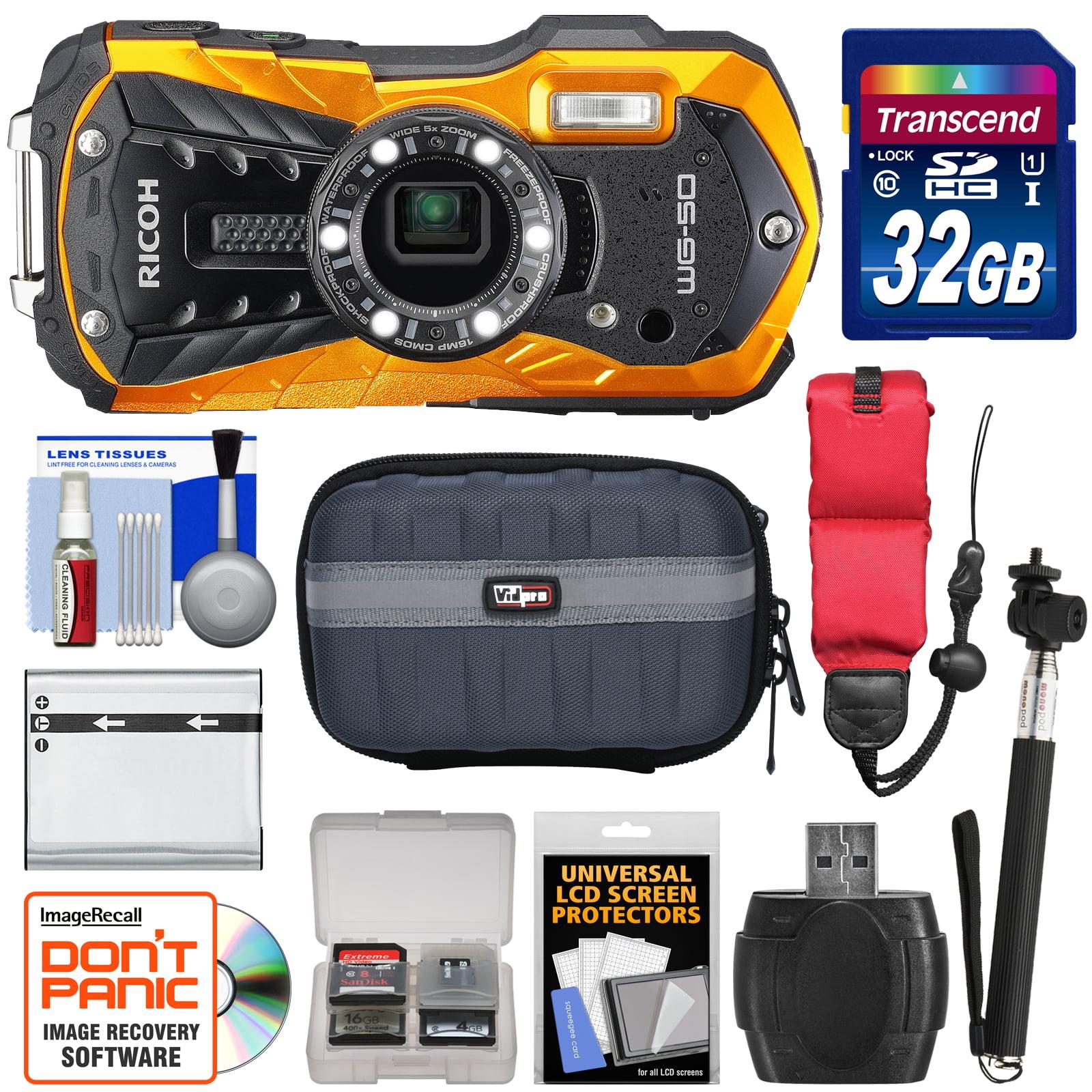 Ricoh WG-50 Waterproof / Shockproof Digital Camera (Orange) with 32GB Card + Battery + Case + Selfie Stick + Strap + Kit