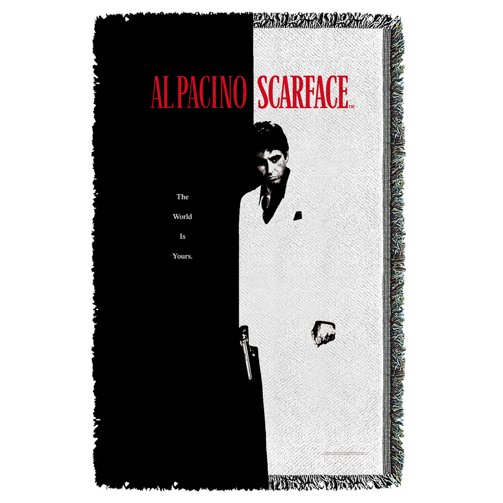 Scarface Poster Woven Throw White 48X80