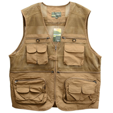 Men's Sports Photography Fishing Vest Multi Pocket Sleeveless Zipper Mesh Jacket Color:Khaki