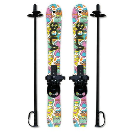 SOLA Kid's Snow Skis & Poles Winter Sports Beginner W/ Bindings Age 2 - 4 (Gaggle)