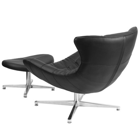 Flash Furniture Leather Cocoon Chair and Ottoman in Black - image 2 de 4